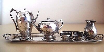 Antique Miniature Sterling Silver Tea Set Marked England