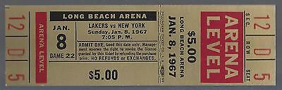 1966-67 Nba New York Knicks @ Los Angeles Lakers Full Unused Basketball Ticket