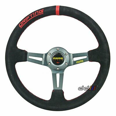 350mm Suede Leather Deep Dish Sport Race Steering Wheel Fits MOMO OMP Boss Kit