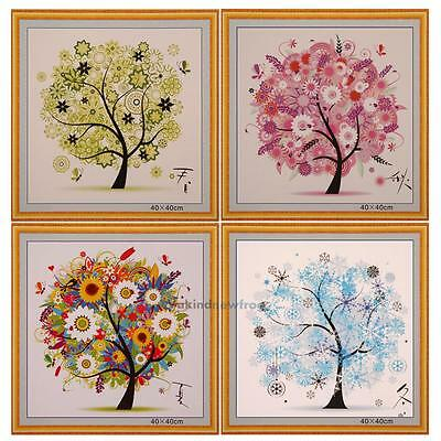 DIY Colorful Four Season Tree Counted Cross Stitch Kit Embroidery Home Decor New