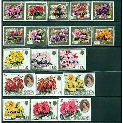 Niue 1985 Official Flowers set of 19 to $10 MNH