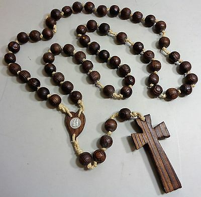 Large Vintage Lourdes French Priest Wooden Bead Rosary with Wood Crucifix