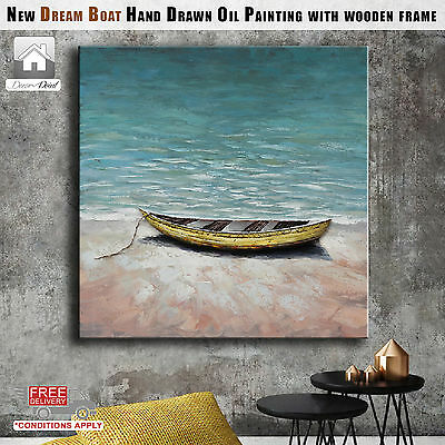 New Dream Boat Hand Drawn Oil Painting with Wooden Frame