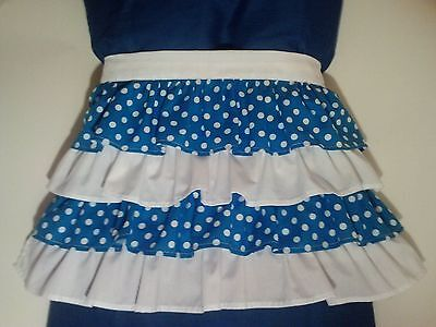 Blue and White Polka Dots Ruffled Apron    (Free Shipping)