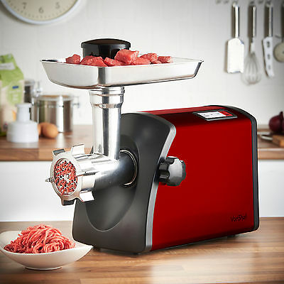 VonShef Electric Red Meat Mincer Grinder & Sausage Maker Powerful 1800W Motor