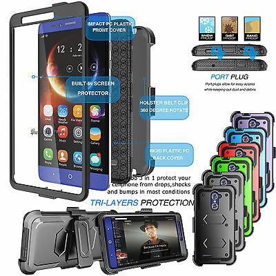 For ZTE ZMAX PRO ARMOR REFINED PHONE COVER + BELT CLIP HOLSTER HARD CASE COVER