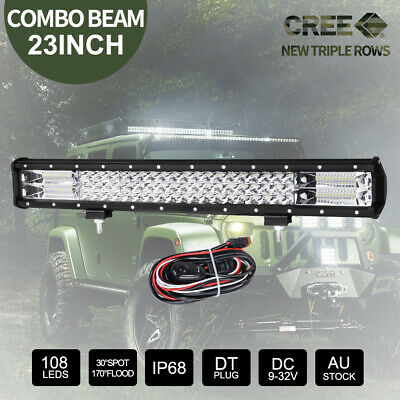 23inch CREE LED Light Bar Triple Row Combo Beam & Black Plate Frame & DT Wiring