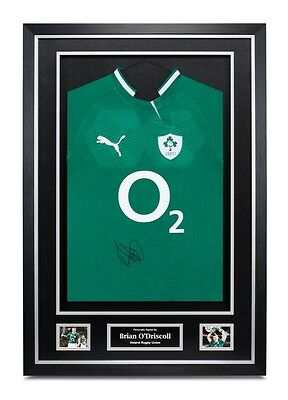 Brian O'Driscoll Signed Shirt Framed Ireland Rugby Jersey Autograph Memorabilia