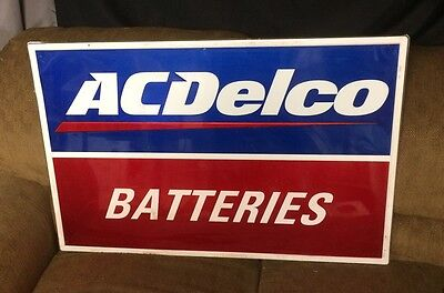 Vintage Metal AC DELCO Batteries Sign Service Station Gas Station Oil Man Cave