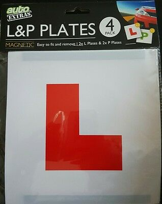 Magnetic Reusable 2 x 'L' & 2 x 'P' Plates 4 pack New Driver Learner Driving Car