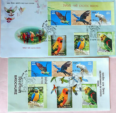 108.india 2016 Set/6 Stamp From Sheetlet Exotic Birds Fdc + Brochure