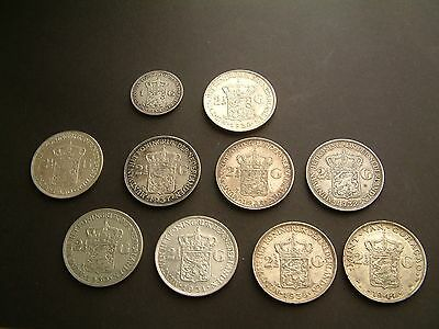 Superb Collection Of 9 X 2 1/2 Silver Gulden And 1 Gulden - 10 Coins In Total