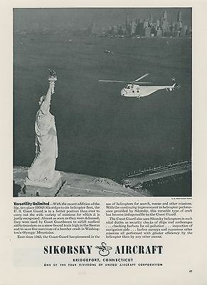 1952 Sikorsky Helicopter Ad HO4S US Coast Guard Statue of Liberty New York City