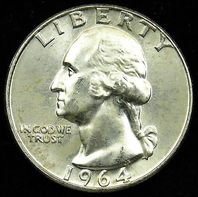1964 D Uncirculated 90% Silver Washington Quarter BU (B01)
