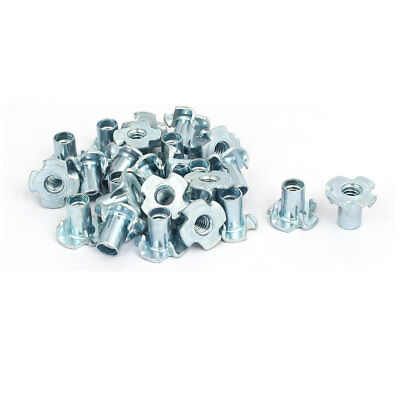"""1/4"""" Thread Dia 14mm Height 4 Prongs Partially Threaded Pronged Tee Nuts 25pcs"""