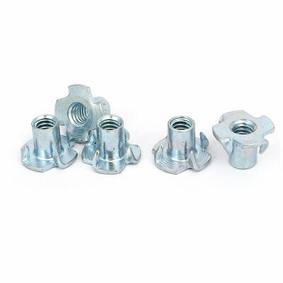 1/4-inch Thread Dia 12mm Height 4 Prongs Fully Threaded Pronged Tee Nuts 5 pcs