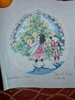 #64 Hand painted needlepoint canvas Christmas tree Edie and Ginger, beautiful!