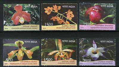109.india 2016 Set/6 Stamp Orchids, Flowers .mnh