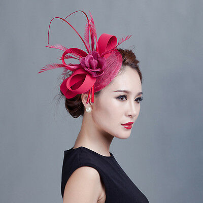 Fancy Party Race Feather Sinamay Hat Decorations Clip Wedding Fascinator New