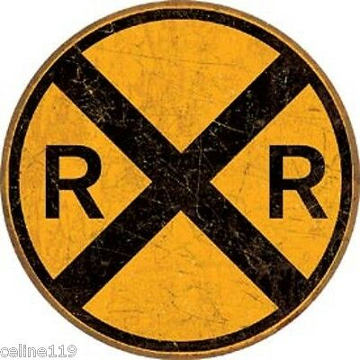 "Railroad RR 12"" Round Vintage Style Metal Signs Man Cave Garage Decor Train Car"