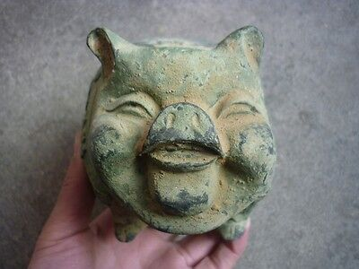 Chinese antique bronzes unearthed bronze, hand-carved, rich pig statue E95*++