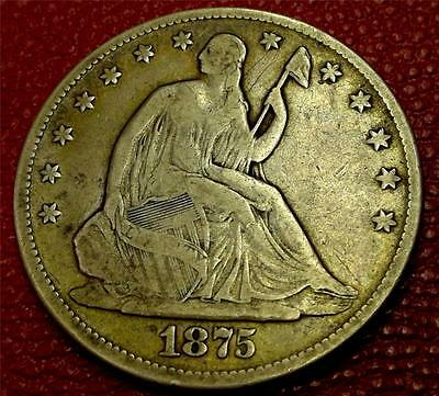 ***collectible U S. Coin**1875 Seated Liberty Half Dollar Vf #cb15