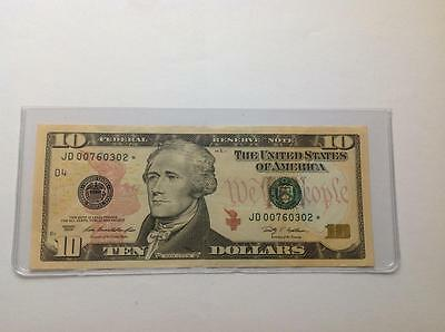 2009 $10 US. Star note. Nice Crispy Bill. Federal Reserve (D). 1.9 mil. printed.