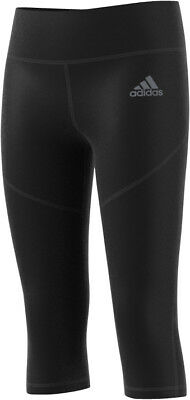 adidas Tech-Fit Girls 3/4 Capri Running Tights - Black