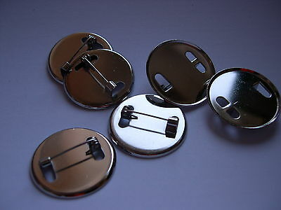 Qty 10 - 25mm Round Badge / Brooch Back Blanks c/w catch - Nickel Plated