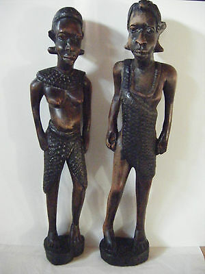 Pair African carved wooden figures man and woman retro old ethnic Africa wood