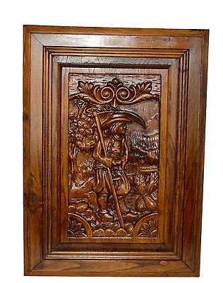 French Carved Wood Door Panel Picture - Breton Figures Brittany Wheat Reaper
