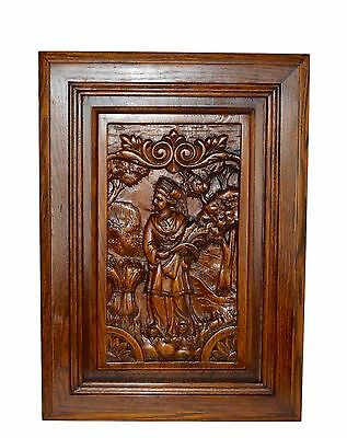 French Carved Wood Door Panel Picture - Breton Figures Brittany Wheat Ears