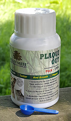 PLAQUE OUT - Cats and Dogs - Plaque Off Bad Breath and Tartar Removal 100G Pack!
