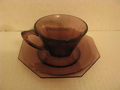 Vintage Octagonal Amethyst Purple Glass Cup and Saucer