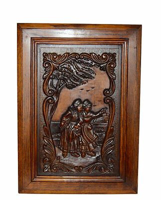 French Carved Wood Door Panel Picture - Breton Figures Brittany Two Women