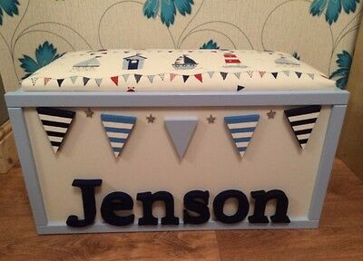 Personalised Handmade Children's Wooden Toy Box/Storage Box With Seat