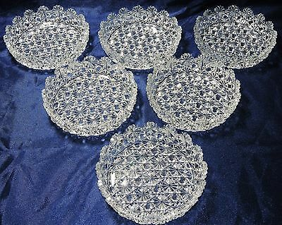 Vintage Daisy And Button Crystal Ice Cream Bowls (6)