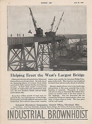 1931 Industrial Brownhoist Corp Ad: Southern Pacific Railroad Saisun Bay Bridge