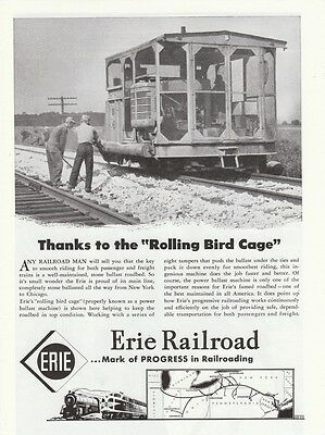 1949 Erie Railroad Ad Rolling Bird Cage Power Ballast Machine Stone Ballast Road