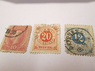 Sweden Stamps X 3 1890 Used