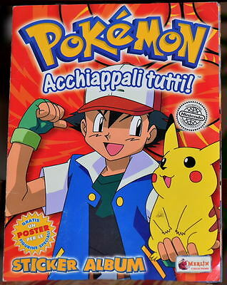 "ITALY POKEMON ALBUM ""Acchiappali Tutti"" COMPLETE with Stickers & Large POSTER"