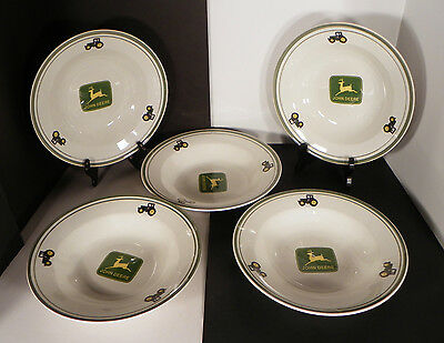 Gibson John Deere Tractor Rim Soup Pasta Bowls LOT OF 5