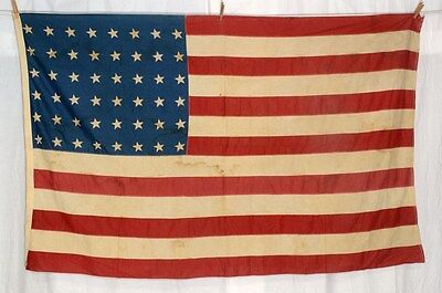 48 star flag USA  cotton printed sewn 42 in. x 70 in. worn