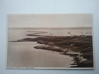 1933 Photochrom Postcard of The Harbour & Breakwater Holyhead Anglesey