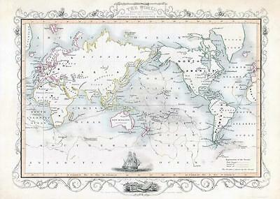 1850 Antique Map THE WORLD VOYAGES OF CAPTAIN COOK by John Tallis