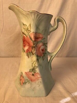 Hand Painted Pitcher Red Roses Gold Trim Signed