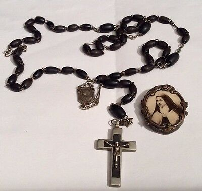 Antique/Vintage French Rosary beads & Sepia photo of Nun in Brass Frame Pendant