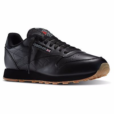 Reebok 49798:CL LTHR Classic Leather All-BLACK/Gum-Sole Running Sneakers for MEN