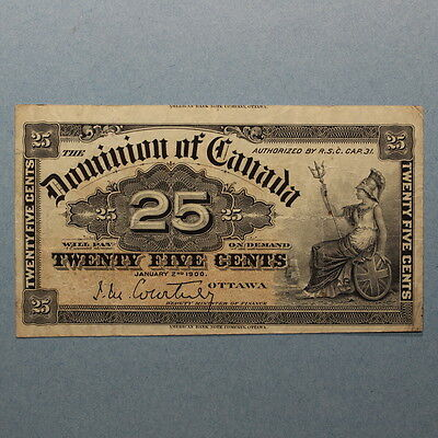 Dominion of Canada 25 Cents 1900 Courtney Banknote VF+ - Cut w/ Printer Name x2