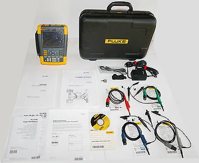 Fluke 190-204/am/s Series Ii Scopemeter Oscilloscope 4Ch 200Mhz  Flukeview Case